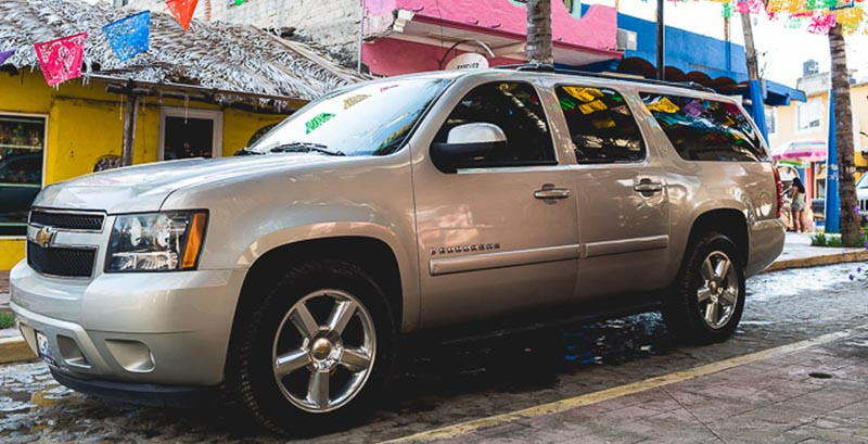 One of Sayulita Luxury Transportation's luxury vehicles on the streets of Sayulita